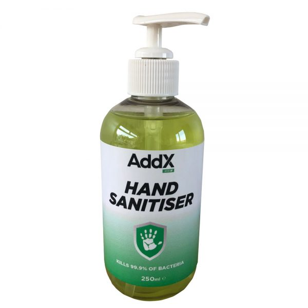 hand sanitiser 250ml pump bottle